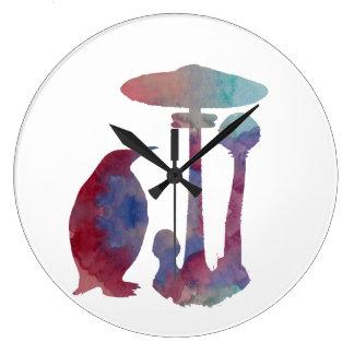 O pinguim e o cogumelo relógio para parede