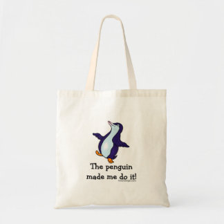 O pinguim fez-me fazê-lo! sacola tote budget