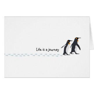 O pinguim imprime o cartão de aniversário