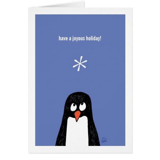 O pinguim tem um cartão feliz de Holiday*!