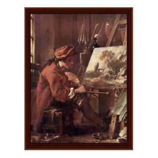 O pintor em seu Auto-Retrato do estúdio Cartões Postais