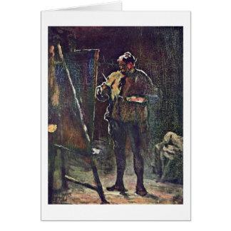 O pintor na armação por Honore Daumier Cartão Comemorativo