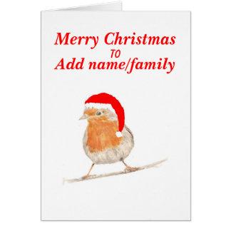 O pisco de peito vermelho no cartão de Natal