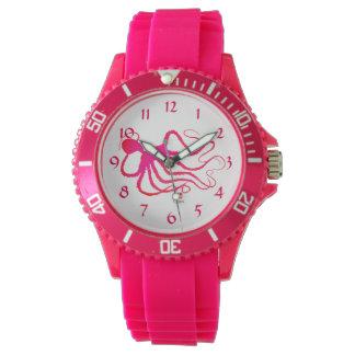 O polvo do Amy - relógio cor-de-rosa desportivo do