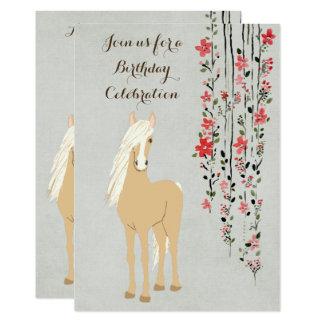 O pônei bonito do Palomino floresce o cavalo que o Convite 12.7 X 17.78cm