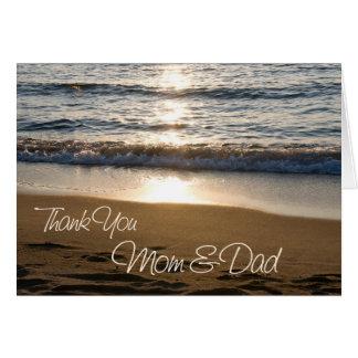 O por do sol Parents cartões de agradecimentos do