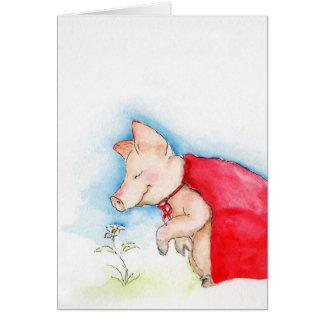 O porco super toma o tempo cheirar as flores cartão comemorativo