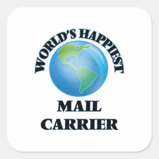 O portador de correio o mais feliz do mundo adesivo quadrado