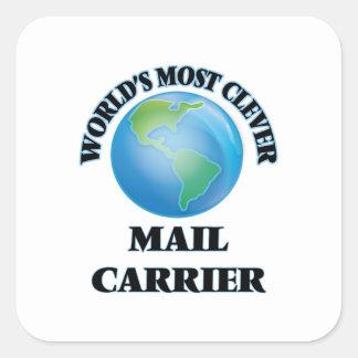 O portador de correio o mais inteligente do mundo adesivo quadrado
