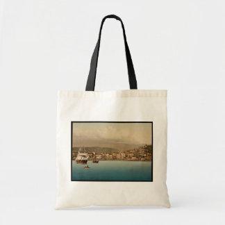 O porto, vintage Photochrom de San Remo, Riviera Sacola Tote Budget
