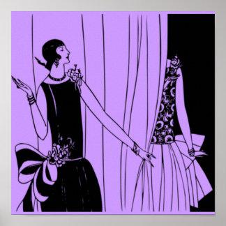 O poster 1920 de Deco do Flapper do vintage 1 -