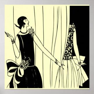 O poster 1920 de Deco do Flapper do vintage 2 -