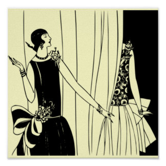O poster 1920 de Deco do Flapper do vintage 2 - pe