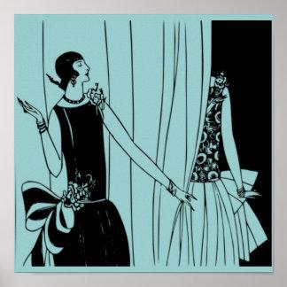 O poster 1920 de Deco do Flapper do vintage 3 -