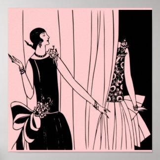 O poster 1920 de Deco do Flapper do vintage 4 -