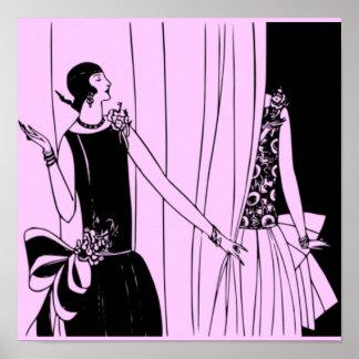 O poster 1920 de Deco do Flapper do vintage 5 -