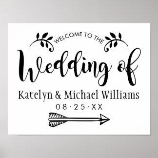 O poster bem-vindo Wedding assina o roteiro preto Pôster
