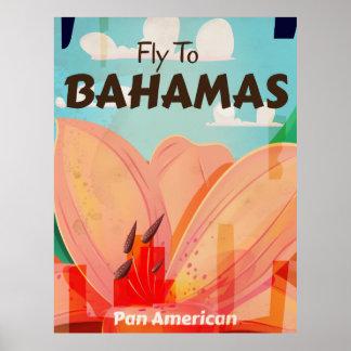 O poster clássico das viagens vintage de Bahamas