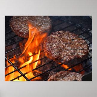 O poster com os hamburgueres do assado da carne e