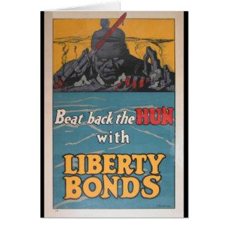"""O poster da propaganda """"bateu para trás o huno"""" WW Cartão Comemorativo"""