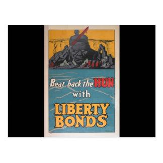 O poster da propaganda bateu para trás o huno WW Cartão Postal