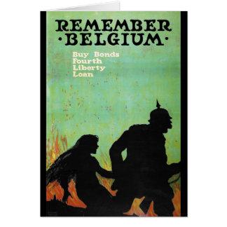 """O poster da propaganda """"recorda Bélgica"""" WWII Cartão Comemorativo"""