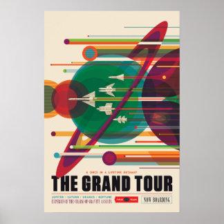 O poster da viagem espacial da excursão grande