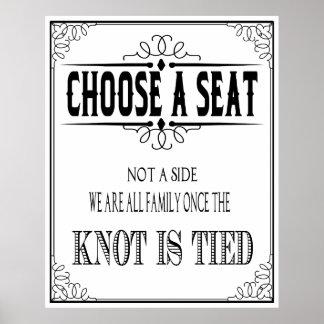 """O poster do casamento """"escolhe um assento"""" preto e pôster"""