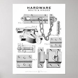 O poster do hardware do vintage aparafusa as