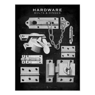 O poster do hardware do vintage aparafusa o