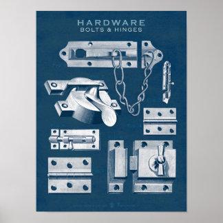 O poster do hardware do vintage aparafusa o modelo