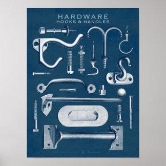 O poster do hardware do vintage engancha o modelo