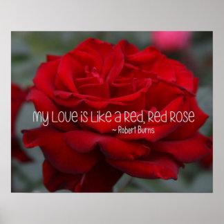 O poster meu amor é como um vermelho, rosa
