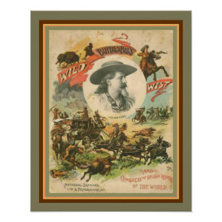 O poster ocidental selvagem 16 x 20 de Buffalo
