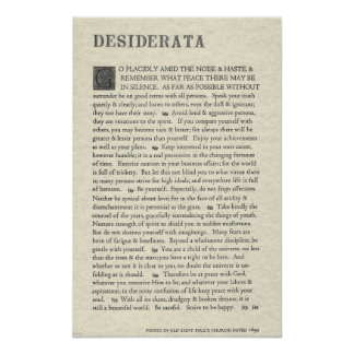 O poster original dos Desiderata por Ehrmann