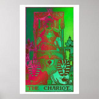 O poster psicadélico do cartão de Tarot do Chariot