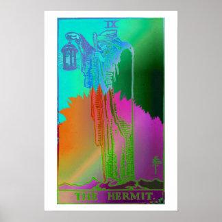 O poster psicadélico do cartão de Tarot do eremita