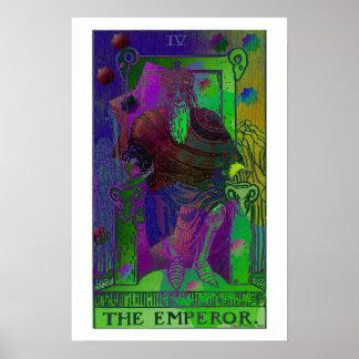 O poster psicadélico do cartão de Tarot do imperad