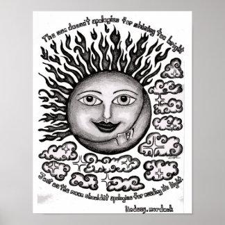 O poster The Sun da arte da parede não se desculpa