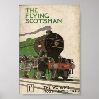 O poster vintage do Scotsman do vôo Pôster