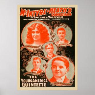 O poster vintage novo dos Quintette de América