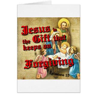 O presente de Jesus mantem-se perdoar Cartão Comemorativo