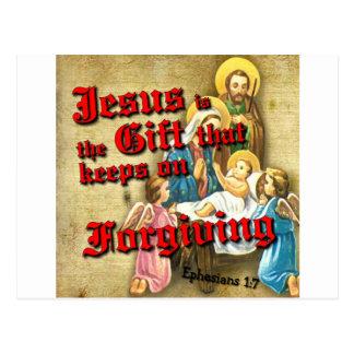 O presente de Jesus mantem-se perdoar Cartão Postal