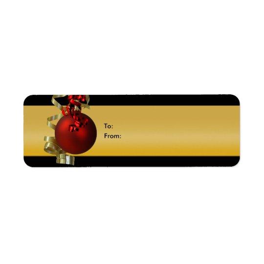 O presente dos enfeites de natal etiqueta o ouro d
