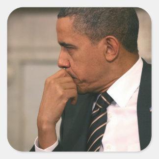 O presidente Barack Obama encontra o presidente Adesivo Quadrado