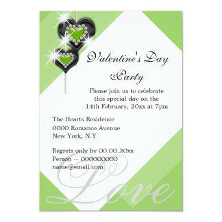 O preto branco verde dos namorados PERSONALIZA Convite 12.7 X 17.78cm