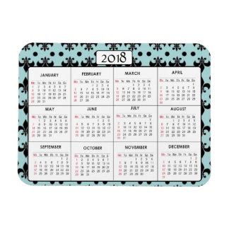 O preto da cerceta do ímã de 2018 calendários