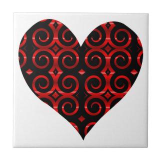 O preto distintivo roda coração azulejo de cerâmica