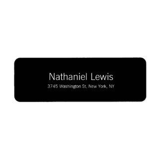 O preto elegante da planície do roteiro etiqueta endereço de retorno