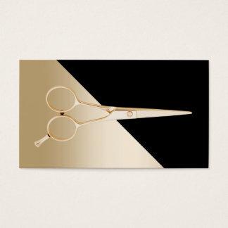 O preto moderno & o ouro do cabeleireiro Scissor Cartão De Visitas